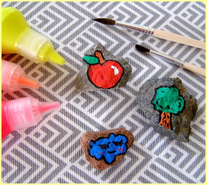 Bilder mit Acrylfarbe ausmalen auf Stein
