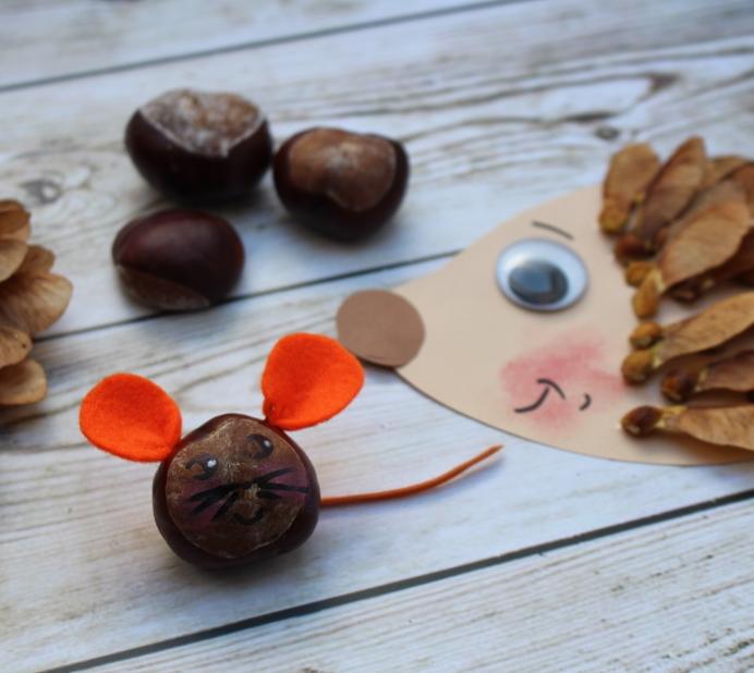Igel und Mäuse aus Naturmaterialien DIY