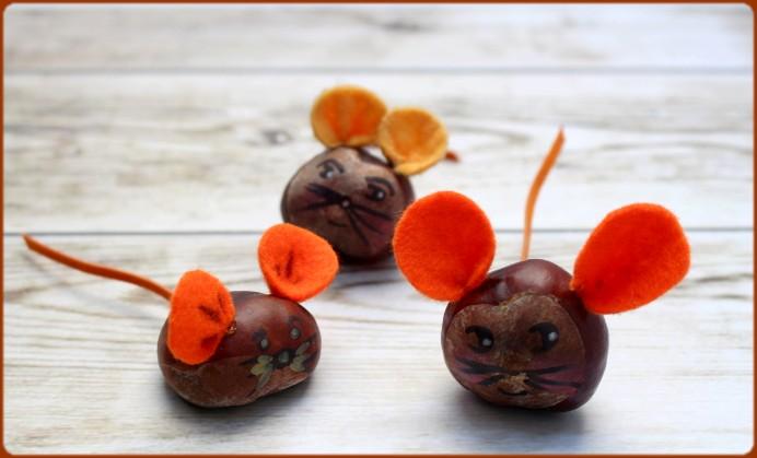 Mäuse aus Kastanien basteln DIY