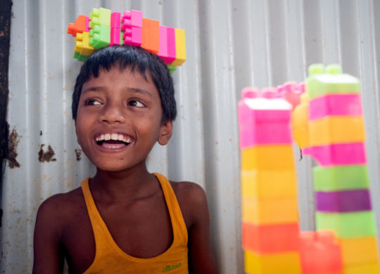 Balukhali, Bangladesh - 2018-07-29  - Yasin Arafat, 10, plays in the Centre for Disability in Development (CDD)/ CBM's inclusive child friendly space (CFS) at the Rohingya refugee camps in Balukhali, Bangladesh on July 29, 2018. Yasin is hearing and speech impaired and had difficulty interacting with others and would often wander aimlessly. Since joining the CFS his parents note improvement in his behaviour.